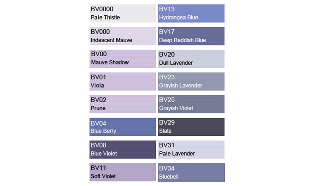 Copic Bv Blue Violet Color Chart Wakuwakumono